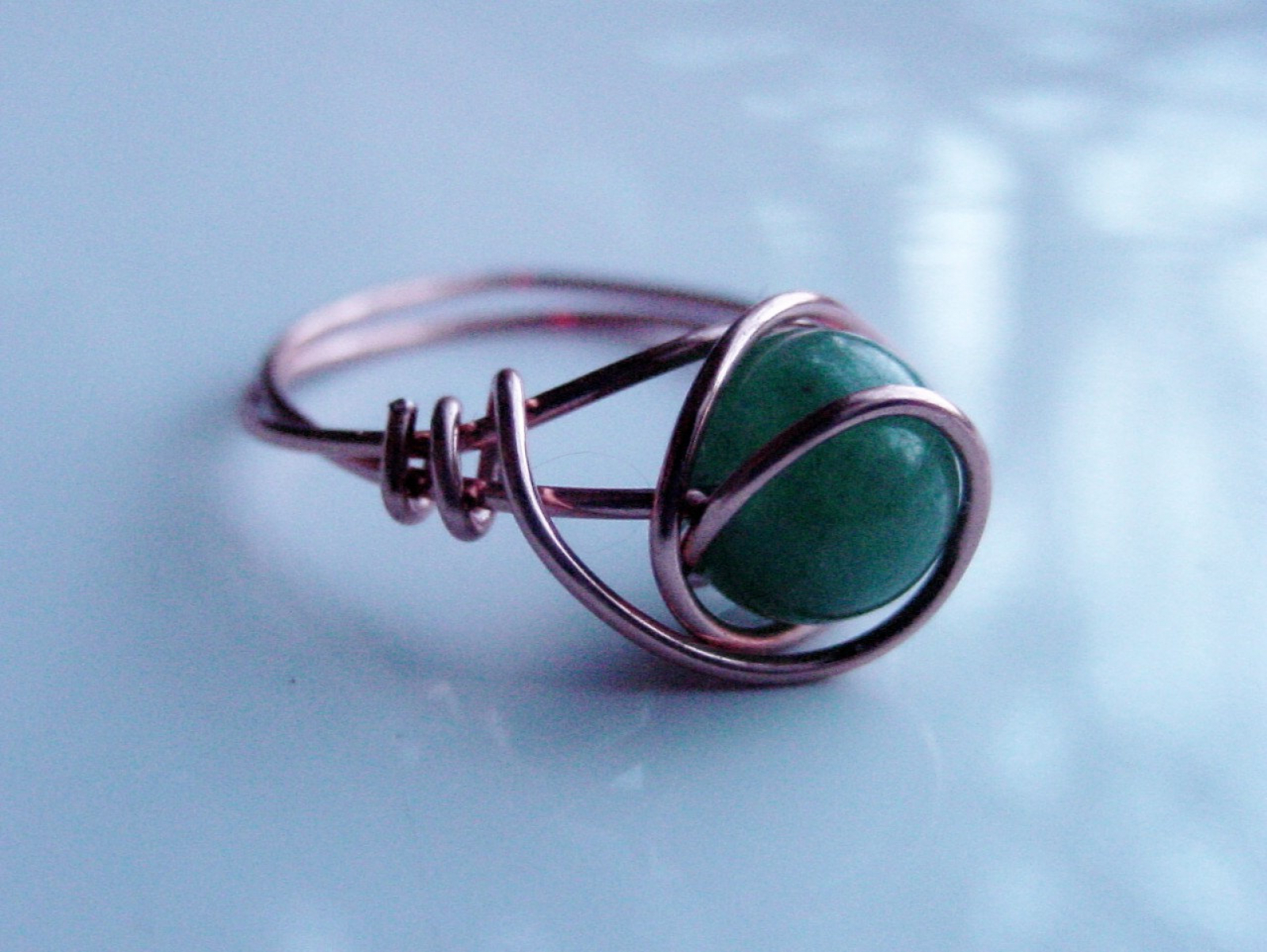 Green Aventurine Copper Wire Wrap Ring, Heart Chakra, Reiki Jewelry ...