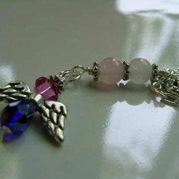 Rear View Mirror Charm, Guardian Angel, Swarovski Crystal Suncatcher,  Rose Quartz gemstone Clear Quartz, Car Accessories