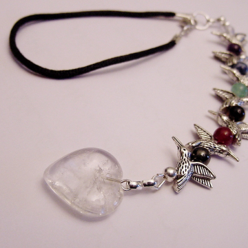 Rear View Mirror Chakra Gemstone Charm, Suncatcher Hummingbirds, Clear Crystal Quartz Heart