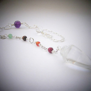 7 Chakra Pendulum, Choose Gemstone Point, Balance, Harmonize Energy Centers, Divination tool, Chakra Jewellery