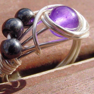 Amethyst and Hematite Semi precious Stone ring,  Silver Wire Wrap Ring, Intuition Chakras Ring, Reiki Ring, Healing Ring