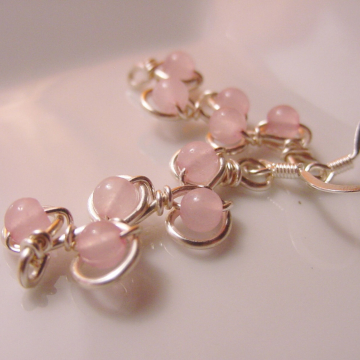 Compassion Rose Quartz Earrings, Wire Wrapped, Unique, Reiki Jewelry, The Love Stone, Gift Idea