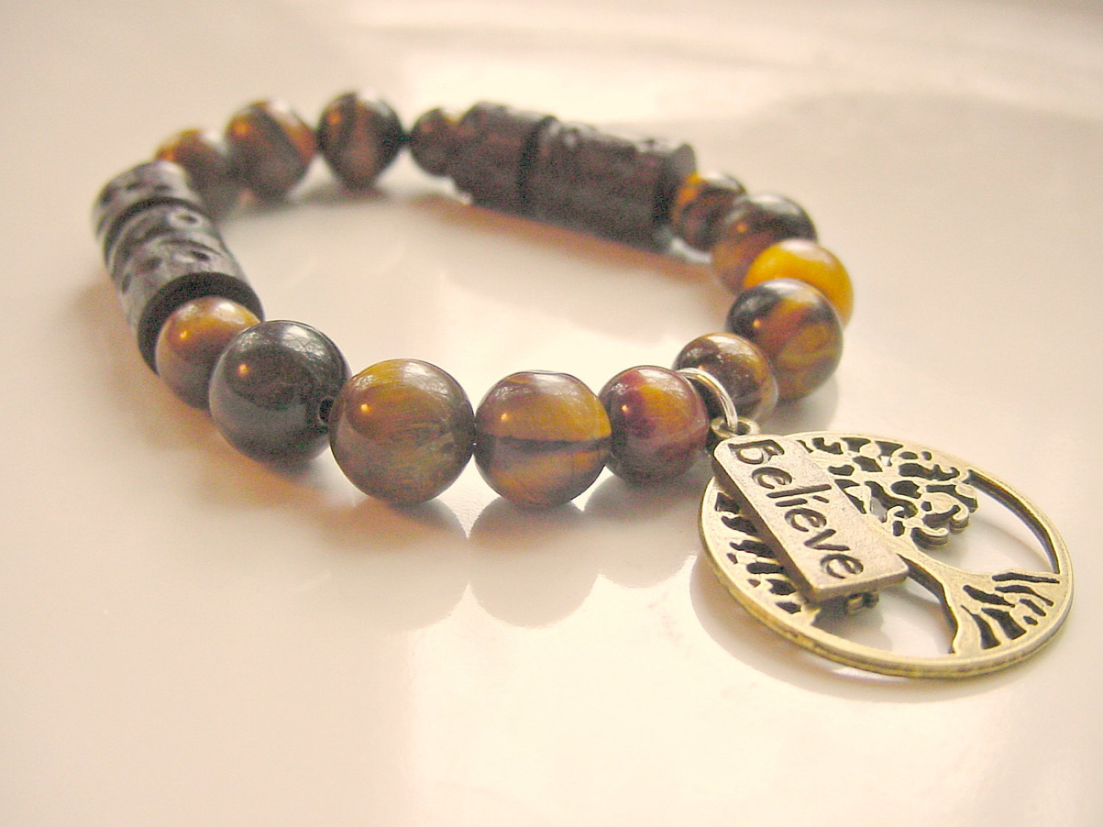 Protection Tiger Eye Bracelet Tree Of Life Believe