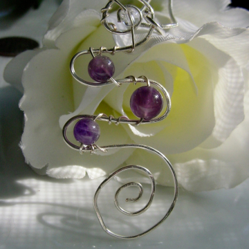 Amethyst Spiral Pendant Clear Quartz Wire Wrapped, Chakra Jewelry, Reiki Jewelry, Sterling, Healing Pendant