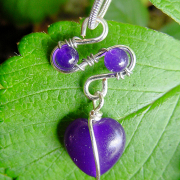Amethyst Heart Semi precious Stone Pendant,  Wire Wrapped , Chakra, Intuition. Inner Seeing, Calming Gift Idea, Purple Heart