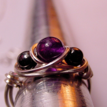 Amethyst and Hematite Semi precious Stone ring,  Wire Wrapped Petite, Grounding, Intuition Chakra Jewelry