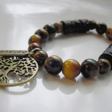 Protection Tiger Eye Bracelet, Tree of Life, Believe Charms Gemstone Protection, Grounding, Unisex Good Luck, Courage, Chakra