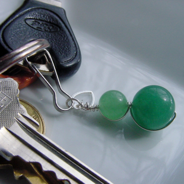 Green Aventurine Key Chain or Zipper Pull Charm, Heart , Prosperity, Semi Precious Stones, Chakra, Well-Being, Accessories