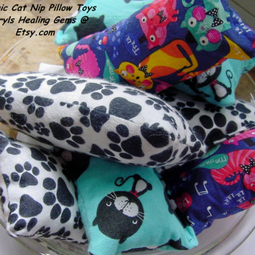 Organic Catnip Pillow Toys, Huggers, Cat Nip Toys, Your Cats will LOVE these, handmade,