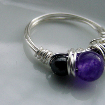 Amethyst and Hematite Semi precious Stone ring,  Wire Wrap Ring, Petite ring, ground, Intuition Chakra