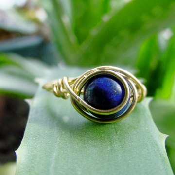 Harmony Lapis Brass Wire Wrap Ring, Love, Purification, Inner Truth, Reiki Jewelry,  Valentines Gift Idea, FREE SHIPPING