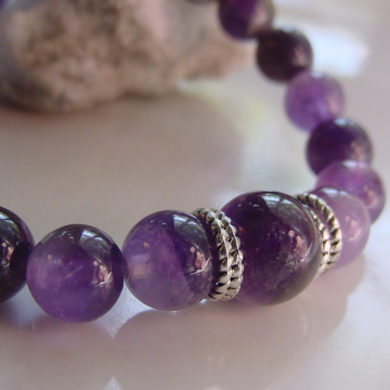 Calming, Stress Relief Bracelet, Amethyst Semi Precious Stones, Meditative Stone, Chakra Helps Focus, Intuition