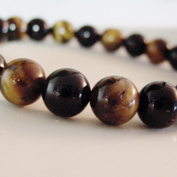 Protection Tiger Eye and Black Onyx Gemstone Bracelet, Protection, Grounding,  Men's Unisex Good Luck, Courage, Chakra