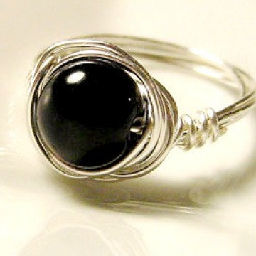 Black Onyx  Wire Wrapped Ring, Protection, Base Root Chakra, Grounding, Healing, Reiki Jewelry, Jewellery, Gift Idea
