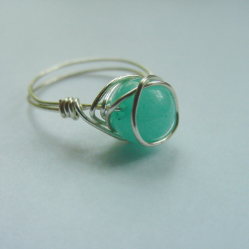 Universal Love Amazonite Semi Precious Stone Ring, Wire Wrapped, Eliminates Worry and Fear, Reiki Jewelry, Chakra Ring
