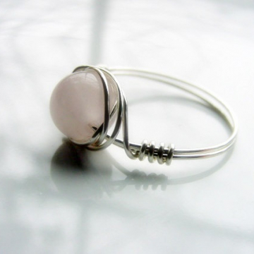 Rose Quartz Love Stone Wire Wrap Ring for Compassion and Self Love Chakra Jewellery, Reiki Healing, Gift Idea