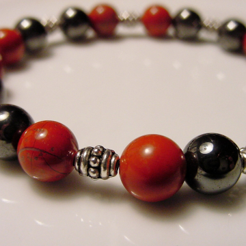 Red Jasper & Hematite Bracelet,  Stone of Health, Protection, Neutralizes Radiation, Relieves Arthritis