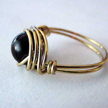 Black Onyx  Wire Wrapped Ring, Brass Wire, Protection, Chakra, Reiki Jewelry, Gift Idea,