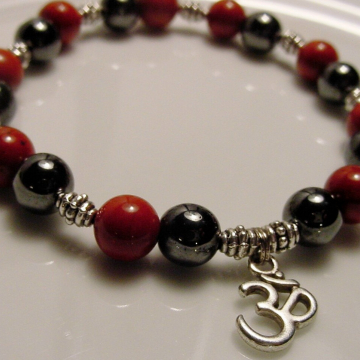 Om Red Jasper & Hematite Bracelet  Stone of Health, Protection, Neutralizes Radiation