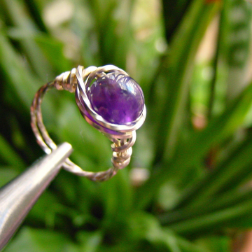 Amethyst Ring Twisted Square Wire Spiritual Awareness, Mental Clarity, Insight, Intuition, 3rd Eye Chakra, Gift Idea