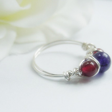 Carnelian and Amethyst Wire Wrapped Ring, Semi Precious Stones, Reiki Jewelry,  Chakra Balance, Gift Idea