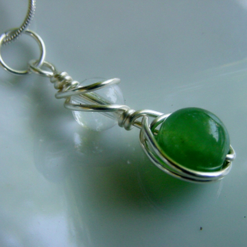 Prosperity & Healing Pendant, Green Aventurine, Clear Crystal Quartz, Wire Wrapped, Chakra Jewelry, Reiki Jewelry, Gift Idea,
