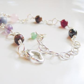 7 Chakra Bracelet, Semi Precious Stones, wire wrapped and linked, Heart Toggle  Energy Centers, Reiki Jewelry, Gift Idea