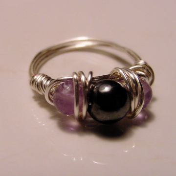 Sterling Silver Semi Precious Hematite, Amethyst  Wire Wrap Ring, Petite ring, Dissolves negative energy