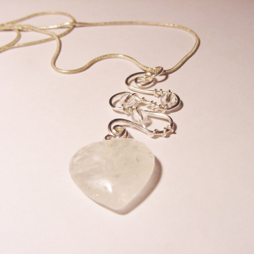 Master Healer Clear Crystal Quartz Heart, Sterling Upgrade, Wire Wrapped Pendant, Chakra Jewelry, Reiki