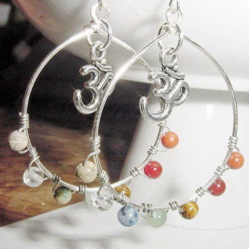 Om 7 Chakra  Hoop Earrings  - Gemstones, Balance, Harmonize Energy Centers, with or without Om CharmReiki Jewelry, Yoga,