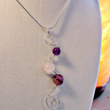 Anxiety Pendant ~ Soothing Gemstones Wire Wrapped, Spiral Unique Design, Amethyst, Purple Agate, Rose Quartz, Chakra Healing Jewelry