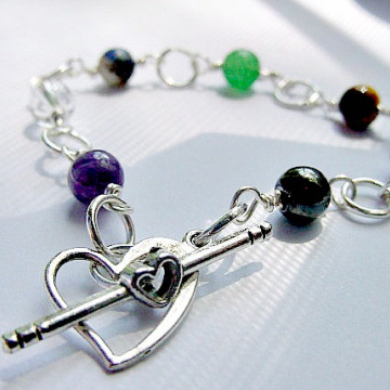 7 Chakra Bracelet, Semi Precious Stones, wire wrapped and linked, Heart Toggle  Energy Centers, Reiki Jewelry, Gift Idea,