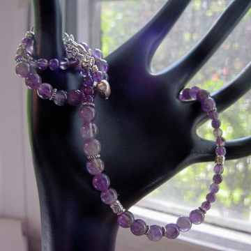 Amethyst Necklace, Semi Precious Stones, Prosperity and Abundance, Chakra Jewelry, Gift Idea