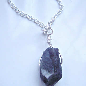 Raw Amethyst Nugget Pendant, Wire Wrapped, Anti-Stress Stone, Inner Peace, Spiritual Wisdom