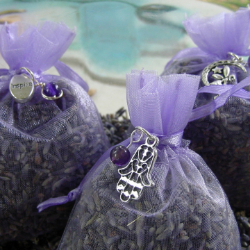 LAVENDER Sachets, Soothing Herbal Sachets with Gemstone and Charm