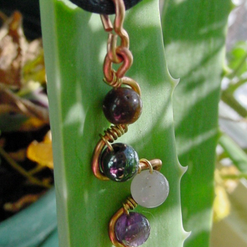 Clarity Pendant Copper Wire Wrapped, Semi Precious Stones, Amethyst, Tiger Eye, Rose Quartz, Hematite