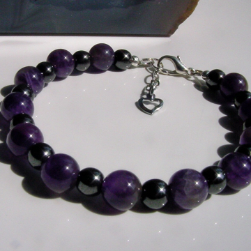 Amethyst Anti Stress, Semi Precious Stones for Calming and Stress Relief, Hematite for Grounding
