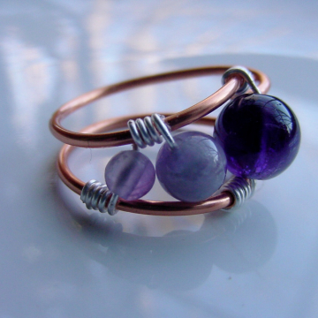 Amethyst Copper  Wire Wrap Ring, Inner Seeing, Spiritual Awareness, Third Eye Chakra,  Free Shipping, Gift Idea