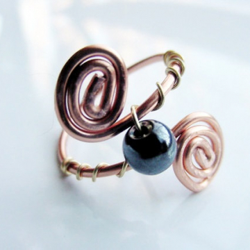 Grounding Hematite Spiral Copper Wire Wrapped Ring, Semi Precious, Chakra, Reiki Jewelry, Valentines Gift Idea
