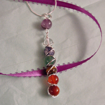 7 Chakra Pendant  Wire Wrapped Sterling Silver Available, Gemstones, Harmonize Energy Centers, Reiki Jewelry,