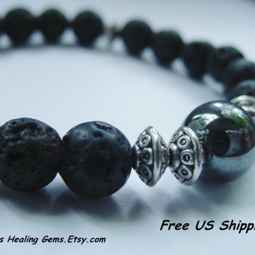 Black Lava Power Bracelet, Hematite Grounding Bracelet, Men's Bracelet, Unisex Bracelet, Energy Bracelet, Reiki Charged,