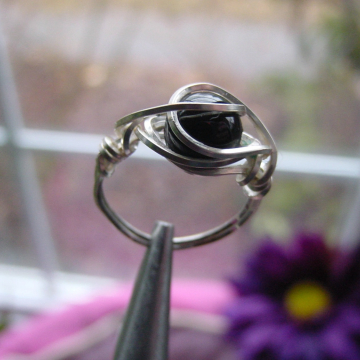 Black Onyx  Wire Wrapped Ring, Square Wire, Protection, Base Root Chakra, Grounding, Healing, Reiki Jewelry, Jewellery, Gift Idea