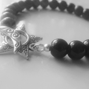 Black Onyx  Semi Precious Stone Bracelet, Moon & Star Toggle, Protection Stone, Balance Base Chakra, Trending, Free Shipping