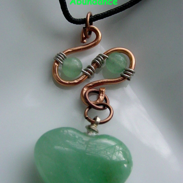 Prosperity Green Aventurine Copper, Sterling Wire Wrapped Heart Pendant Semi-Precious Stones, Chakra  Balance, Gift Idea,