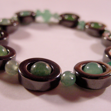 Hematite and Green Aventurine Semi Precious Stone Stretch Bracelet, Reiki Jewelry, Chakra Jewelry, Gift Idea