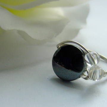 Hematite Round Stone Ring, Clear Crystal Quartz Semi precious , wire wrapped Intuition Chakras Jewelry, Jewellery
