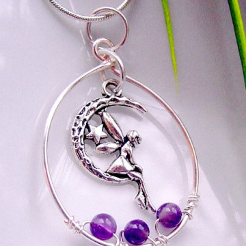 Fairy Danielle Moon and Star Charm Necklace, Amethyst Stones for  Inner Peace, Spiritual Wisdom, Gift Idea