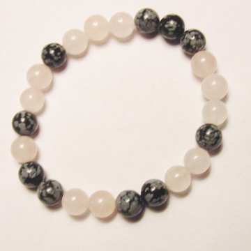 Rose Quartz and Snowflake Obsidian Gemstone Chakra Bracelet, Balance, Harmony,  Gift Idea,