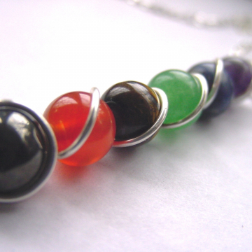 7 Chakra Wand Pendant  Necklace Gemstones, Sterling Silver Upgrade, Balance, Reiki Jewelry, Chakra Jewellery, Free Shipping