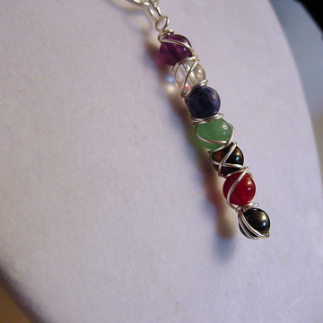 7 Chakra Wand Pendant  Necklace 6mm stones, Powerful Balance, Harmony, Gemstones, Gift Idea